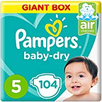 Pampers Baby-Dry Diapers, Size 5, Junior, 11-16 kg, Giant Box, 104 Count