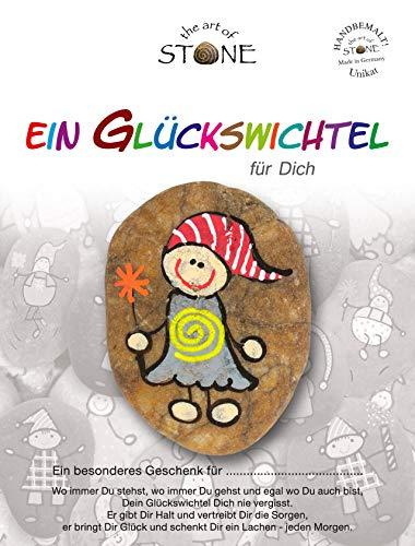 The Art of Stone Glückswichtel Stein Für Dich in GrauGelbRot mit Spirale, individualisierbarer Glücksstein, von Hand bemalt -