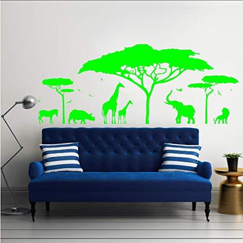 Safari Wandtattoo Vinyl Kunst Aufkleber Zoo Natur Giraffe Kindergarten Elefant Abnehmbare Tapete Schlafzimmer Dekorkind 105 * 42 cm ()