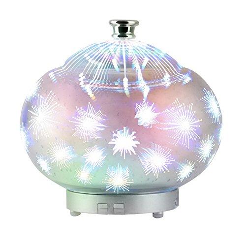 Souarts 3D Glass Aroma Diffuser Duftlampen 90ml Nachtlampe mit 7 Farben Luftbefeuchter Nachtlicht Oil Düfte Humidifier für Badezimmer Yoga (Düfte 7)