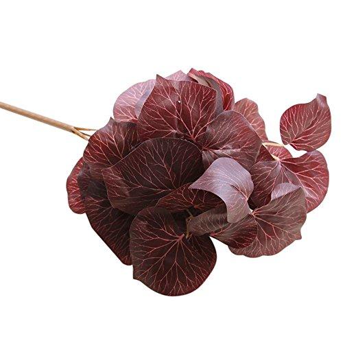VWTTV künstliche gefälschte Blatt 6 Kopf Magnolienblatt künstliche Blume gefälschte Blume Magnolienblätter Simulation Blatt Hochzeit Hauptdekoration (Fake Rote Bärte)