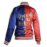 HNDs Harley Quinn Eigentum der Joker Blue & Red Satin Jacke UK10 Rot Blau