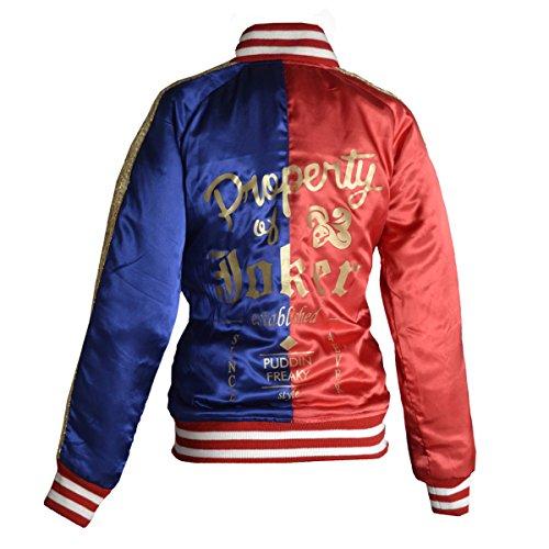 Eigentum der Joker Blue & Red Satin Jacke UK8-UK26 Red, Red, XS für Brustgröße 36 ' (Red Skull Kostüm)