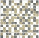 Mosaik Fliese Glas weiß grau braun für BODEN WAND BAD WC DUSCHE KÜCHE FLIESENSPIEGEL THEKENVERKLEIDUNG BADEWANNENVERKLEIDUNG Mosaikmatte Mosaikplatte