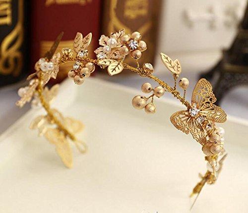 MDRW-Bridal Hochzeit Ballsaal Haarnadel Haarschmuck Kopfschmuck Goldene Blätter Schmetterlinge...