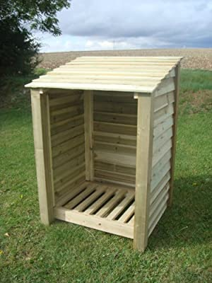 Burley 4ft, Wooden Log Store/garden Storage, Green, Heavy Duty, Hand Made, Pressure Treated.