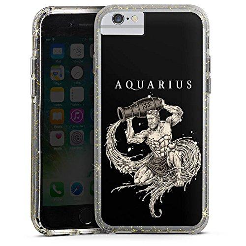 Apple iPhone 6s Bumper Hülle Bumper Case Glitzer Hülle Wassermann Sternzeichen Astrologie Bumper Case Glitzer gold