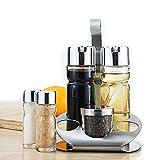 5-teiliges Essig Menage-Set Glas Salz Pfeffer Öl & Essig N2O Rack Ständer