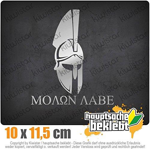 KIWISTAR Sparta 300 Helm Molon labe 11,5 x 10 cm IN 15 FARBEN - Neon + Chrom! Sticker Aufkleber