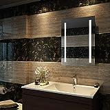 Duravak Badspiegel eckig Spiegel 60x80cm mit energiesparender Kaltweissen LED-Beleuchtung kaltweiß...