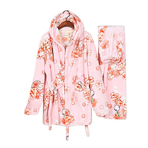 Flanell Damen Kimono Pyjama Anzug japanische Art Robes-Pink (Flanell Damen-robe)