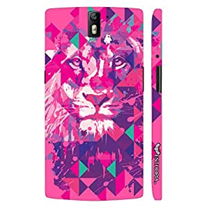 One plus One Lion Art Pink designer mobile hard shell case by Enthopia