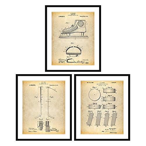 key Patent Poster Serie 3er Set Hockeyschläger Hockey Dekor Eishockey Puck Hockey Wall Art Sports Fan N046 ()