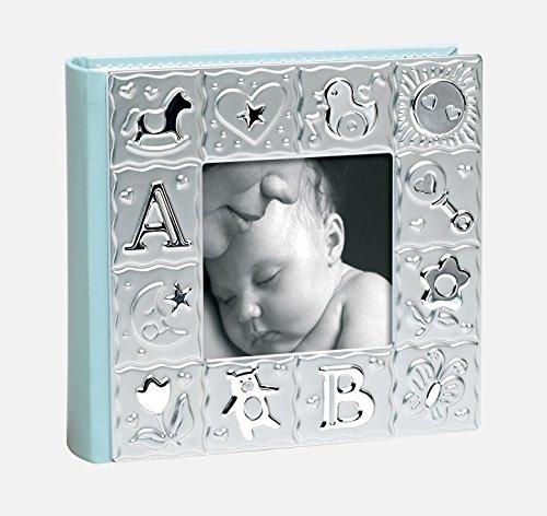Quadro album bambino blu per 100 foto a tasche 10 x 15, rosa / argento, metallo;argento