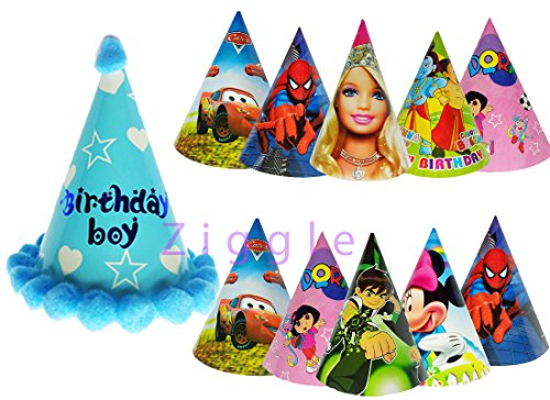 Ziggle Birthday caps for Birthday boy and kids caps birthday boy printed caps assorted caps combo (Pack of 11 Caps)