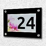 Schilderio Design Hausnummer aus hochwertigen Acrylglas inkl. V2A Edelstahl Abstandshalter - 270x190mm - Hintergrundmotiv wählbar - Rostfrei und witterungsbeständig