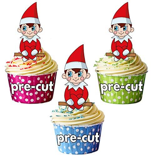hnachten Boy Elf-Essbare Cupcake Topper/Kuchen Dekorationen (Pack von 12) Elf auf Regal Idee ()