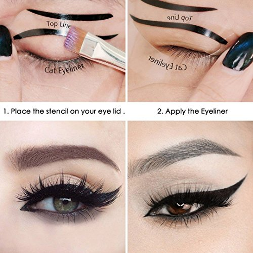 FOK Eye Liner Stencil Template Smokey Eyeliner Shaper Eyeshadow Stencil Grooming kit Beauty Tool For Perfect Smoky Eyes And All Kind Of Eye Makeup