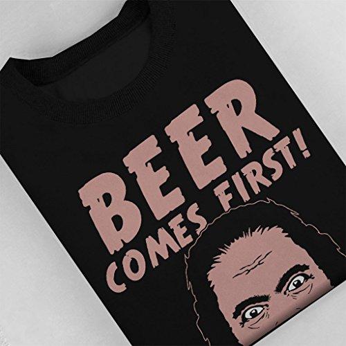 Beer Comes First Women's Sweatshirt Black