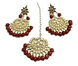 #3: Hilore Maroon Kundan Panchlada Style Mangtika Set For Girls & Womens