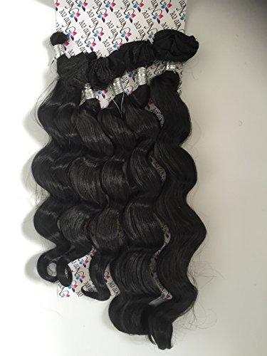 NEW Eve Couleur 1B Premium Mélange 5 en 1 trame et Bulk Extensions cheveux ondulés