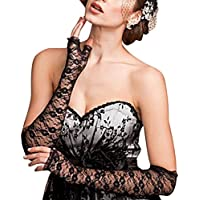 Donna elegante sexy pizzo protezione UV opera-length senza dita Guanti da sposa per matrimonio sera (Costumi Birthday Party Dress)