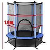Enlarge toy image: Popamazing® 4.5ft Outdoor Trampoline with Safety Net for Junior Kids Garden Activity Centre (Blue)