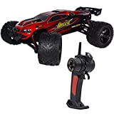 2.4G 4CH RC Car Hobby Truck 38 KPH 1/12 Scale Electric Remote Control Toy Vechicles Brushed 2WD Anti-Shock Waterproof Read to Run RTR Racing Truggy Drifting Cars (Red)