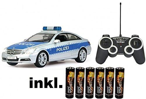 ferngesteuerte polizeiautos RC Mercedes Benz E-Klasse Polizei Auto ferngesteuert - inkl. Batterien mit Polizei-Sirene,Blaulicht und Sound 1:16