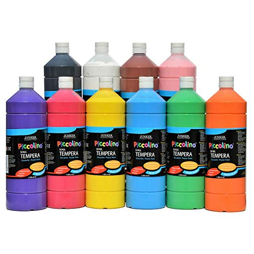 Piccolino Schul-Tempera Farben Set 10x1000ml - 10 tolle Farben in der 1 Liter Flasche, gebrauchsfertige Ready-Mix Gouache