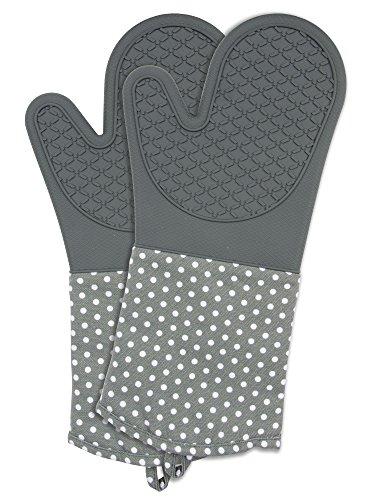 Wenko 2102172100 Topfhandschuhe Silikon grau, 1 Paar, Ofenhandschuh, Baumwolle, 18.5 x 37.5 cm, grau