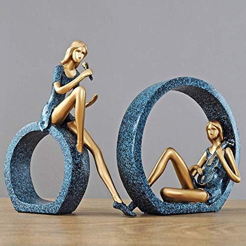 YYZZ Kleine Ornamente Startseite Weiche Dekorationen Wohnzimmer Weinschränke Handwerk Kreative Schlafzimmer Schmuck Handwerk Harz Statue (Farbe: Blau) -Blau