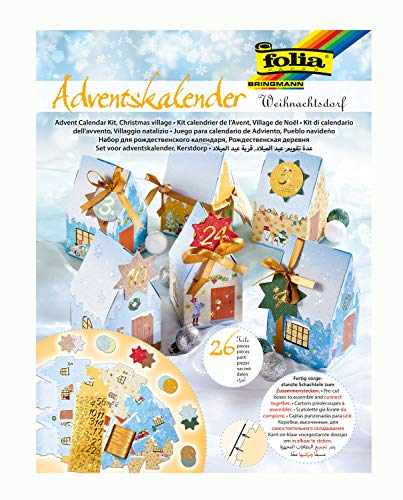 folia 9391 - Adventskalender Weihnachtsdorf, vorgestanzte Schachteln in Form von 24 Häuschen zum Zusammenstecken, mit Glitterapplikationen, ideal für kleine Geschenke im Advent