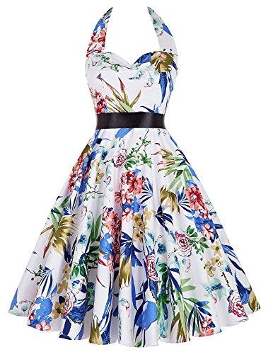Fashion A-Linie aermellos Neckholder Bubble Skirt Baumwollrock Faltenrock XL (Bubble Skirt)