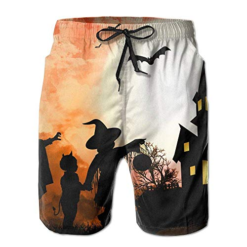 WITHY Beach Volleyball Shorts, Happy Halloween Bats Beach Swim Shorts for Men Boys, Outdoor Short Pants Beach Accessories,(XXL)