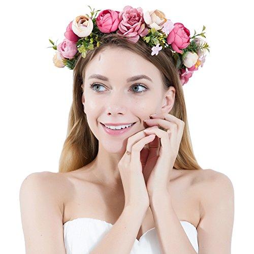 PROKTH Blumenkranz Handwerk Haare Blumen Haarschmuck Blumenstirnband für Blumenmädchen Mädchen...