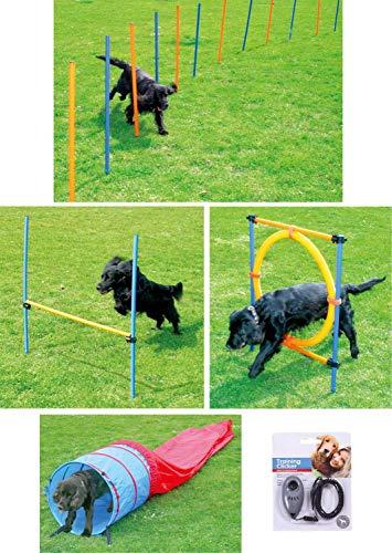 PETGARD Hunde Agility-Set Hundesport 12 Slalom Stangen + Hürde + Ring + Tunnel + Clicker