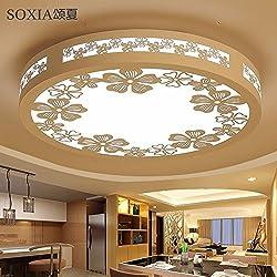 Cttsb Lámparas de techo Salón Sakura chasis de hierro sillas de madera estilo China Dormitorio Salón Comedor sala de estudio, Sakura / ronda los 55cm, Blanco