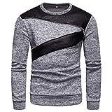 Xmiral Pullover Herren Langarm O Neck Bluse Patchwork Reißverschluss Design Shirt Top (XXL,Grau)