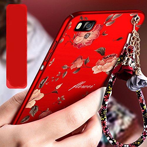 Rouge Très Mince Coque Huawei P8 Etui Housse Case Hard PC Matière avec [Protecteur d'écran] [Ultra Mince] [Ultra Léger] Anti-Rayures Anti-dérapante Dur Matte Cover,Sunroyal Élégant Motif Fleurs de piv Rouge Peony