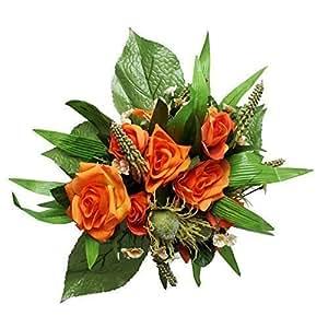 2 Mazzi di fiori artificiale Mazzo di fiori Rose Disposizione fiore Decorativa Fiori arancione bianco - Bouquet Di Fiori Arancione