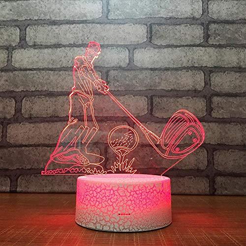 SHANYD 3DIllusione Ottica Led Lampada di Illuminazione Luce Notturna, 7 Colori con Acrilico Caricatore USB per Cambia Luce Notturna Telecomandata Touch Control Golf