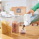 hunpta 2L dispensador de cereales de plástico caja de almacenaje cocina alimentos cereales arroz...
