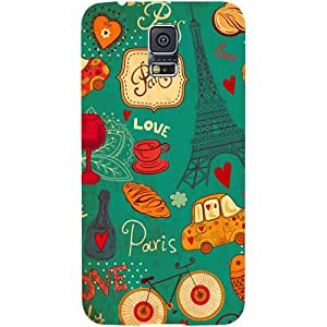 Casotec Paris Love Print Design Hard Back Case Cover for Samsung Galaxy S5 i9600