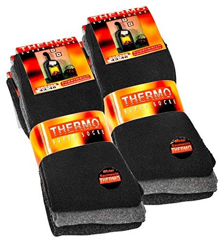 Lot de 6 paires de chaussettes homme Thermo - tissu éponge - noir/gris anthracite/gris 43-46