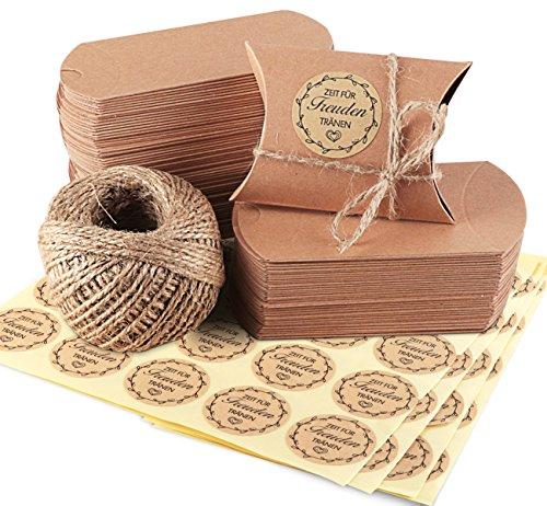100 pz scatole portaconfetti in carta kraft con 60m corda di canapa 100pz adesivi etichette forma cuscino bomboniere regalo segnaposti per festa laurea matrimonio battesimo (marrone)
