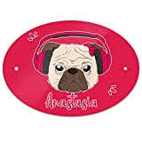 Eurofoto Türschild mit Namen Anastasia und Mops-Motiv mit Kopfhörer und Schleife in Pink für Mädchen | Kinderzimmer-Schild