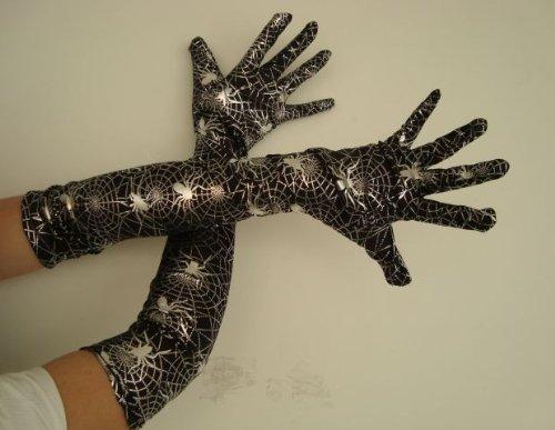 Foxxeo Langarmhandschuhe Handschuhe Langarm Handschuh Spinnen schwarz Silber Spinne Halloween Horror Kostüm