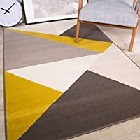 Milan Modern Rich Striking Abstract Design Ochre Yellow Mustard Gold Graphite Grey Rug from The Rug House