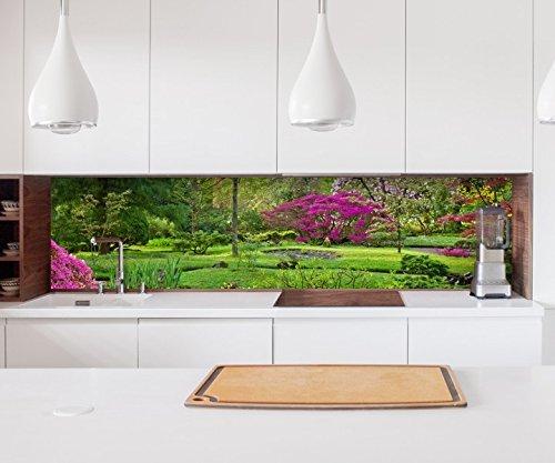 Aufkleber Küchenrückwand Japanischer Garten zen grün Folie selbstklebend Dekofolie Fliesen Möbelfolie Spritzschutz 22A605, Höhe x Länge:60cm x 200cm